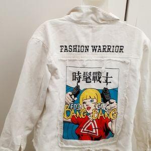 Fashion Warrior White Denim Jean Jacket Fringe S